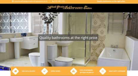 Retail sector brochure website for bathroom centre showroom