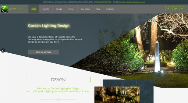 Outdoor garden lightning architects website and digital marketing